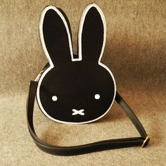 Cute kawaii lovely sweet bunny ears fashion black shoulder messenger bag