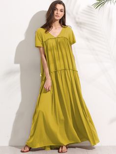 8a3a1ebd908a Shop Double V Neck Frilled Tent Dress online. SheIn offers Double V Neck  Frilled Tent Dress   more to fit your fashionable needs.