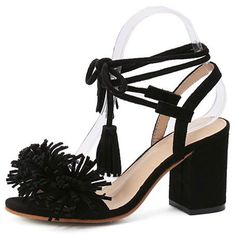 Black Tassel Detail Ankle Lace Up Block Heeled Sandals (65 AUD) ❤ liked on Polyvore featuring shoes, sandals, suede shoes, black sandals, lace-up sandals, lace up heel sandals and black block-heel sandals