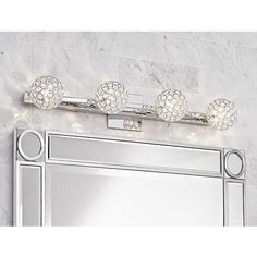 "Tiara Crystal Sphere 28"" Wide 4Light Chrome Bath Light  Bath Glamorous Crystal Vanity Lights For Bathroom Design Ideas"