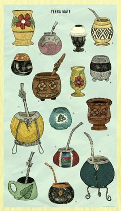 A species of the holly family, Yerba mate is more nutritious than green tea. Like green tea, it contains antioxidants, which helps with weight loss Argentina Culture, Argentina Food, Yerba Mate Tea, Gravure Illustration, My Cup Of Tea, Gourds, South America, Tea Cups, Poster