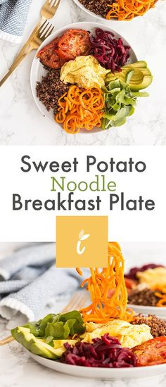 Sweet Potato Noodle Breakfast Plate Sweet Potato Spiralizer Recipes, Sweet Potato Recipes, Sweet Potato Noodles, Veggie Noodles, Breakfast Plate, Clean Breakfast, Breakfast Recipes, Cooking With Olive Oil, How To Cook Quinoa