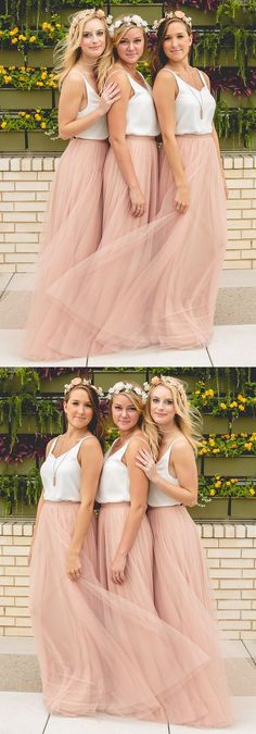 Simple A-line Blush Pink Tulle Long Bridesmaid Dress with White Top