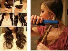 We all love that curly hair look, but it can sure be time consuming. Achieve a messy curl look using just your hair straightener and some hair spray! Curled Hairstyles, Pretty Hairstyles, Easy Hairstyles, Wedding Hairstyles, Updo Hairstyle, Ladies Hairstyles, Hairdos, Coiffure Hair, Tips Belleza
