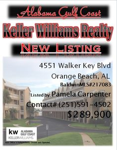 4551 Walker Key Blvd, Orange Beach...MLS#217083...$289,900...2 Bed 2 Bath...Beautiful Waterfront Complex nestled under gorgeous moss field trees. Condo is updated with 2 Bedrooms and 2 Bathrooms. Water view from patio, living room, master bedroom. Enjoy your own boat slip. It is available when you purchase this unit. Community has two pools and one is Bay Front. Move-in ready and completely furnished for you to enjoy. Complex has an elevator...Please Contact: Pamela Carpenter @ 251-591-4502