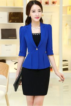 blazer short on sale at reasonable prices, buy 2017 Women's office work Jacket Spring Autumn half sleeve Solid Color Ruffled Blazers feminino Fashion Slim elegant Casual Coat from mobile site on Aliexpress Now! Business Dresses, Business Attire, Hijab Style, Work Jackets, Blazer Fashion, Look Chic, Work Attire, Office Outfits, Korean Fashion