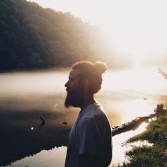 This majestic man bun by a lake   Community Post: 20 Man Buns That Will Ruin You For Short-Haired Guys