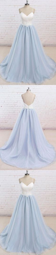 Spaghetti Straps Sweep Train Backless Light Blue Tulle Prom Dress G271#prom #promdress #promdresses #longpromdress #2018newfashion #newstyle #promgown #promgowns #formaldress #eveningdress #eveninggown #2018newpromdress #partydress #meetbeauty #aline #spaghettistrap #skyblue #sweeptrain #backless #tulle