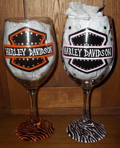 Hand Painted Wine Glasses and Mugs Motorcycle Harley Davidson Biker on Etsy, $15.00