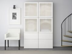 BESTÅ Storage combination w glass doors - white, Selsviken high-gloss/white frosted glass - IKEA Ikea Living Room, Ikea Living Room Storage, Ikea Tv, Shelving Unit, Home Decor, Crockery Unit, Ikea, Adjustable Shelving, Glass Door