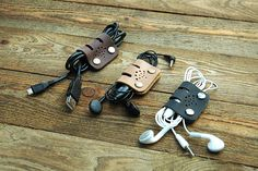Set of 3+1 Perfect Gift BIG Personalized Cable Band, leather cable organizer, Four Earbud organizer, Earbud holder, Valentines Gift (037) by MrsUkrop on Etsy https://www.etsy.com/listing/240879996/set-of-31-perfect-gift-big-personalized