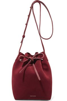 Claret suede and leather (Cow) Drawstring top Designer color: Rococo Due to the delicate nature of the material, natural veining and marks may occur Made in Italy