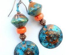 Gorgeous colorful handcrafted artisan hammered copper and lampwork earrings, OOAK, tribal, dramatic