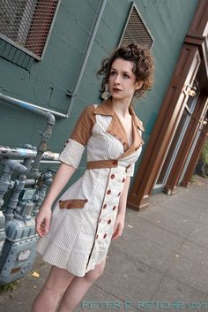 Linen & Buttons Vintage Inspired Dress - Handmade to order OOAK ( one of a kind ) Recycled / Upcycled (88.00 USD) by MoWestCreations