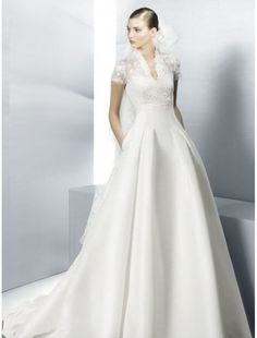 Satin V-Neckline A-Line Wedding Dress with Lace Short Sleeves
