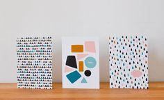 NUAGE ET TRIANGLES / Lot de 3 cartes A6 et enveloppes par oelwein, €8,20