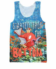 Cartoon Pokemon Poor Magikarp Tank Top Started from the bottom sexy vest Casual tee summer style jersey streetwear for women men