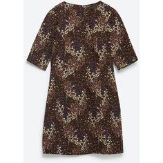 Zara Floral Jacquard Dress ($50) ❤ liked on Polyvore featuring dresses, zara, floral dress, floral print dress, zara dresses, botanical dress ve brown dress