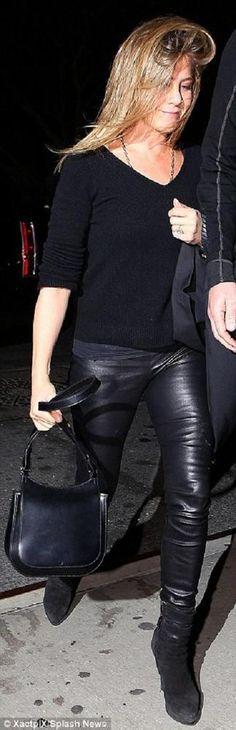 Famous HELMUT LANG Stretch Leather Leggings, sz 6, Black, as seen on Rosie HW #HELMUTLANG