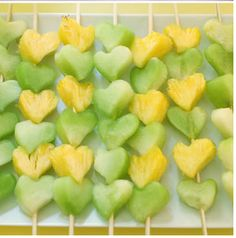 Yellow and green fruit heart skewers for a Baylor baby shower or bridal shower.