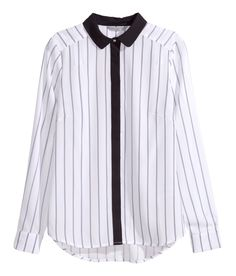 White fitted blouse with long sleeves, striped pattern, and contrasting black collar. | H&M Modern Classics