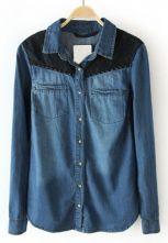 Dark Blue Contrast Lace Shoulder Pocket Denim Blouse