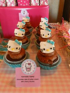 Cupcakes at a Hello Kitty Party #hellokitty #partycupcakes