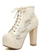 White Lace Chunky Heel Ankle Boots Shoes from UsTrendy. Saved to Shoes. White Lace Boots, White Ankle Boots, Chunky Heel Ankle Boots, Lace Booties, Lace Heels, Platform Ankle Boots, Chunky Heels, Shoe Boots, Ankle Booties