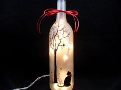 Lighted Wine Bottle Black Cat Hand Painted by PaintingByElaine, $38.00