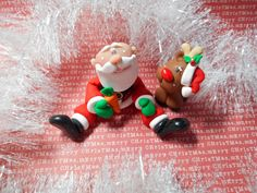 FREE SHIPPING Polymer Clay Sitting Santa with by ClayBabiesInc