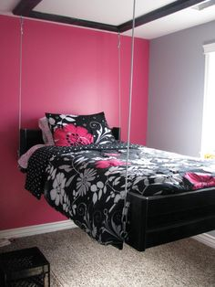 Furniture, Cute Pink White Bedroom Colors With Black Floral Swinging Bed Near Window Design: Comfortable Swinging Beds for Outdoors and Indoors