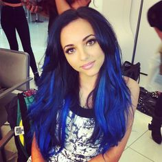 blue black hair with electric blue tips - Google Search its close to how i wanna do mine..less light blue though and maybe a bit brighter