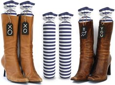 My Boot Trees, Boot Shaper Stands. 100% Cotton, Hand Made. For Women & Men. Complementary Tie-On Wood Tags Included For Customization. LIFETIME GUARANTEE. Several Patterns To Choose From. One Pair (Blue & White Stripes).