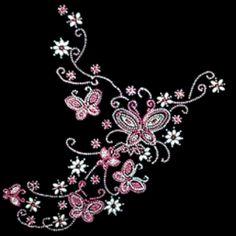 12x13  - BUTTERFLIES-FLOWERS (STONES / STUDS) - butterflies, flowers, Flowers Butterflies and Birds, rhinestones, rhinestuds, Material Transfer, Fashion