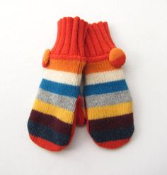 Wool Sweater Mittens Fleece Lined Tangarine Tango by jmariecreates