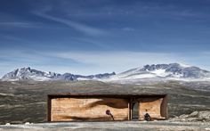 Wild reindeer observation pavilion sits in a perfect northern Norwegian mountainous national park ...