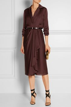 Not my color, but it is elegant. (Jason Wu Belted silk-chiffon wrap dress)