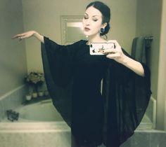 flowy black dress, elegant black hair, antique skeleton (antikamnia pharmacy calendar) phone case