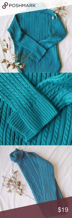 Croft & Barrow Teal Cable Knit Turtleneck Cute winter turtleneck; looks great paired with leggings or jeans and boots! 100% Cotton; already been washed Size Large teal/ turquoise in color  armpit to armpit length is about 20 inches across; nice loose fit about 24.5 inches from shoulder to bottom hem croft & barrow Sweaters Cowl & Turtlenecks