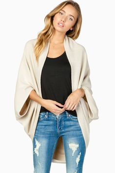 ShopSosie Style : Roland Duo Cardigan in Ivory (although I would pass on paying money for jeans already torn, pinning this for the sweater)