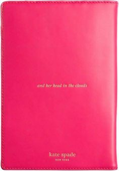 """kate spade - """"and her head in the clouds"""" notebook cover."""
