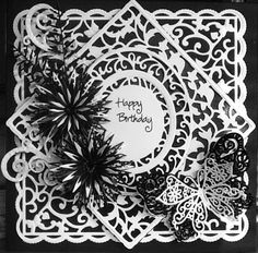 Black and white tonic and tattered lace dies birthday card Birthday Card Design, Birthday Cards, Happy Birthday, Tonic Cards, Tattered Lace Cards, Die Cut Cards, Pocket Letters, Handmade Cards, I Card