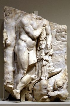 Panel 12 of the Telephos Frieze: Herakles Discovers His Son Telephos, ca. 160 B. Stone Sculpture, Sculpture Art, Sculptures, Hellenistic Art, Greek Warrior, Greek Gods, Ancient Art, Metropolitan Museum, Mythology
