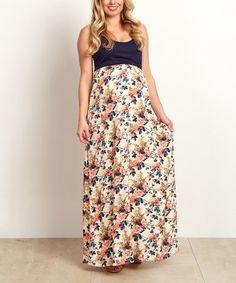 Look at this #zulilyfind! PinkBlush Navy Blue Color Block Floral Maternity Maxi Dress #zulilyfinds