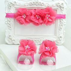 Newborn dark pink barefoot sandals & headband baby hair accessories C224