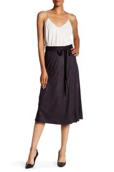 Faux Suede True Wrap Midi Skirt