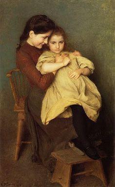 Emile Friant - me encanta la carita tan dulce de la hermana grande