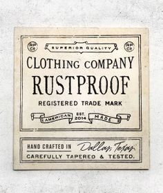 Rustproof Tag by Steve Wolf OnceNewVintage.com is being re-built. Check back soon!