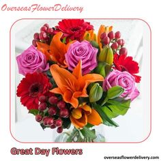 A mixed flower bouquet to have a great day with flowers! Vase is not included. #flowers #flowerdelivery #summerflowers #flowersgift #overseasflowers Flower Delivery Service, Summer Flowers, Have A Great Day, Flowers Vase, Bouquet, Plants, Vase Of Flowers, Bouquet Of Flowers, Bouquets