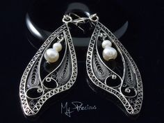 My Precious - Fine silver filigree earrings with freshwater pearls